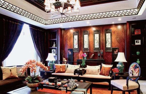 江苏张家港阳光怡庭中式风格别墅软装设计欣赏