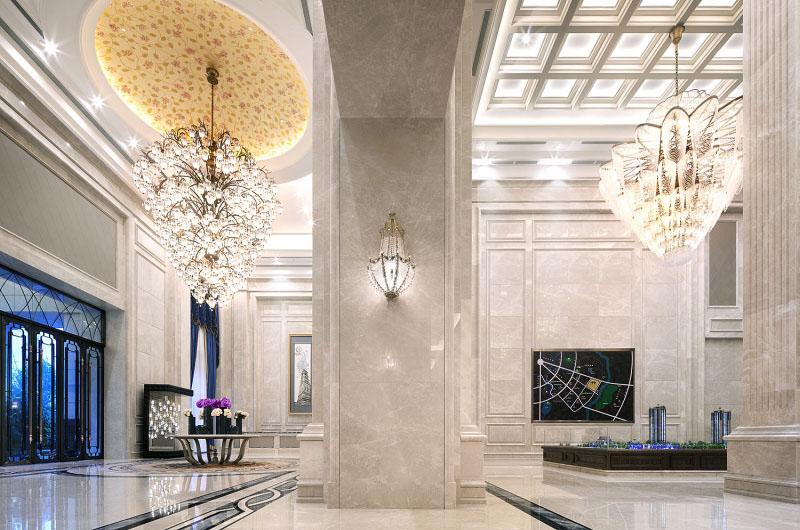 中洲中央城邦欧式新古典售楼处软装设计欣赏